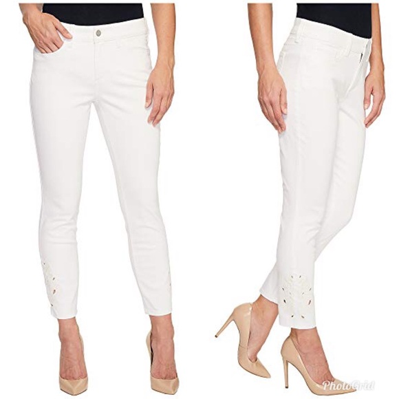 NYDJ Denim - NYDJ Alina Ankle Eyelet Embroidered White Jeans
